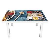 Наклейка на стіл Сухофрукти ПВХ інтер'єрна плівка для меблів горіхи ягоди під дерево Синій 600*1200 мм