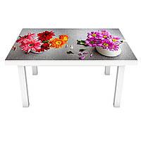 Наклейка на стіл Ранкові Гербери ПВХ інтер'єрна плівка для меблів квіти чай Натюрморт Сірий 600*1200 мм