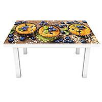 Наклейка на стіл Чорничні кекси ПВХ інтер'єрна плівка для меблів ягоди їжа Коричневий 600*1200 мм