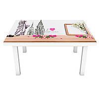 Наклейка на стіл Мила Франція ПВХ інтер'єрна плівка для меблів Ейфелева вежа Бежевий 600*1200 мм