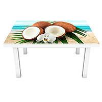 Наклейка на стіл Кокос ПВХ інтер'єрна плівка для меблів море пальми тропічні фрукти Блакитний 600*1200 мм