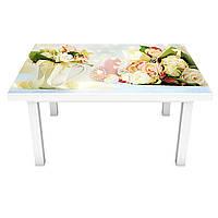Наклейка на стіл Весільний букет ПВХ інтер'єрна плівка для меблів квіти троянди букет Персиковий 600*1200 мм