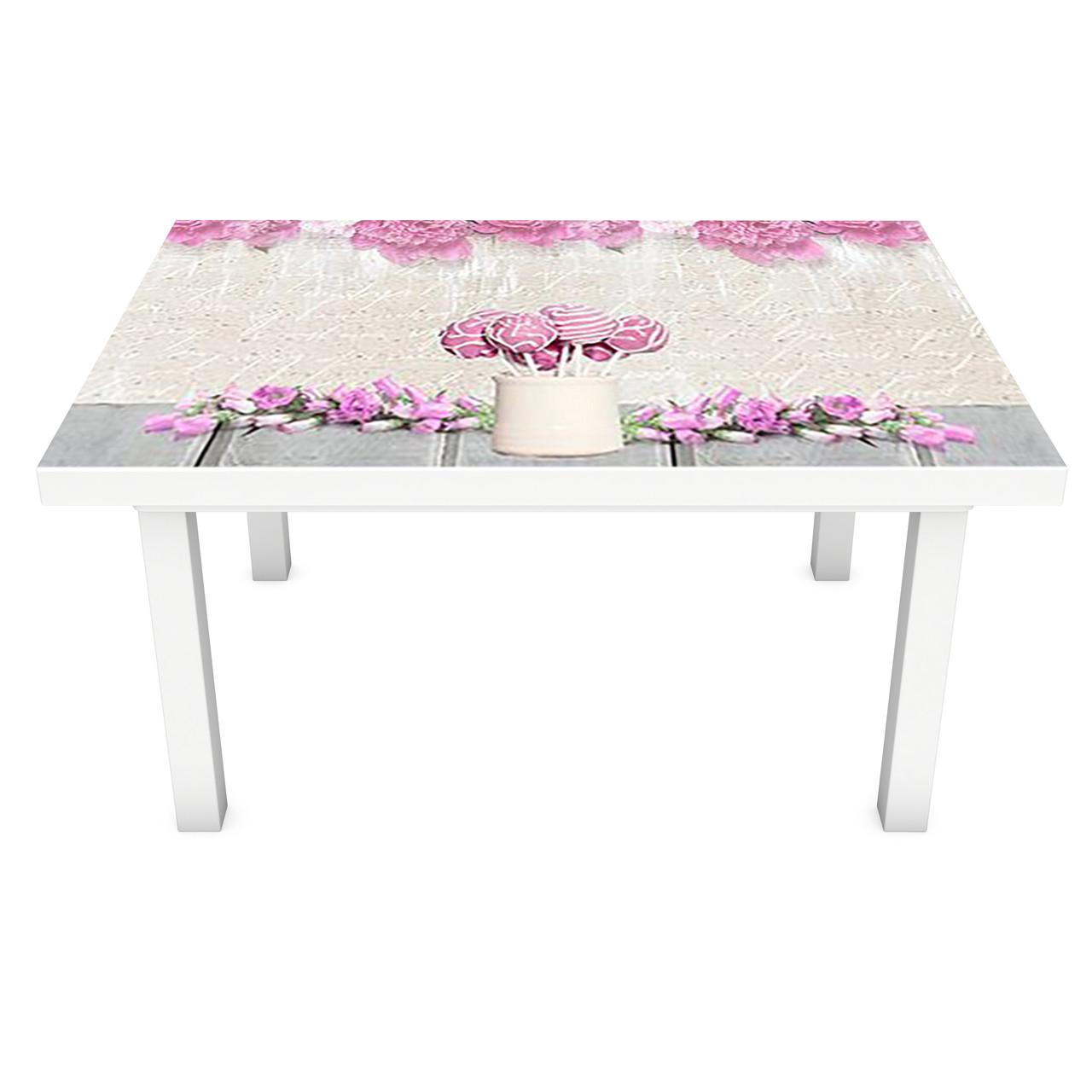 Наклейка на стіл Рожеві солодощі ПВХ інтер'єрна плівка для меблів квіти їжа 3Д Бежевий 600*1200 мм