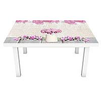 Наклейка на стіл Рожеві солодощі ПВХ інтер'єрна плівка для меблів квіти їжа 3Д Бежевий 600*1200 мм, фото 1