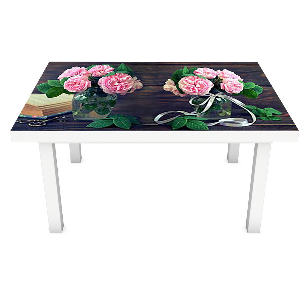 Наклейка на стіл Рожеві Троянди 3Д ПВХ інтер'єрна плівка для меблів букети квіти Коричневий 600*1200 мм