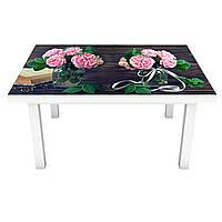 Наклейка на стіл Рожеві Троянди 3Д ПВХ інтер'єрна плівка для меблів букети квіти Коричневий 600*1200 мм, фото 1