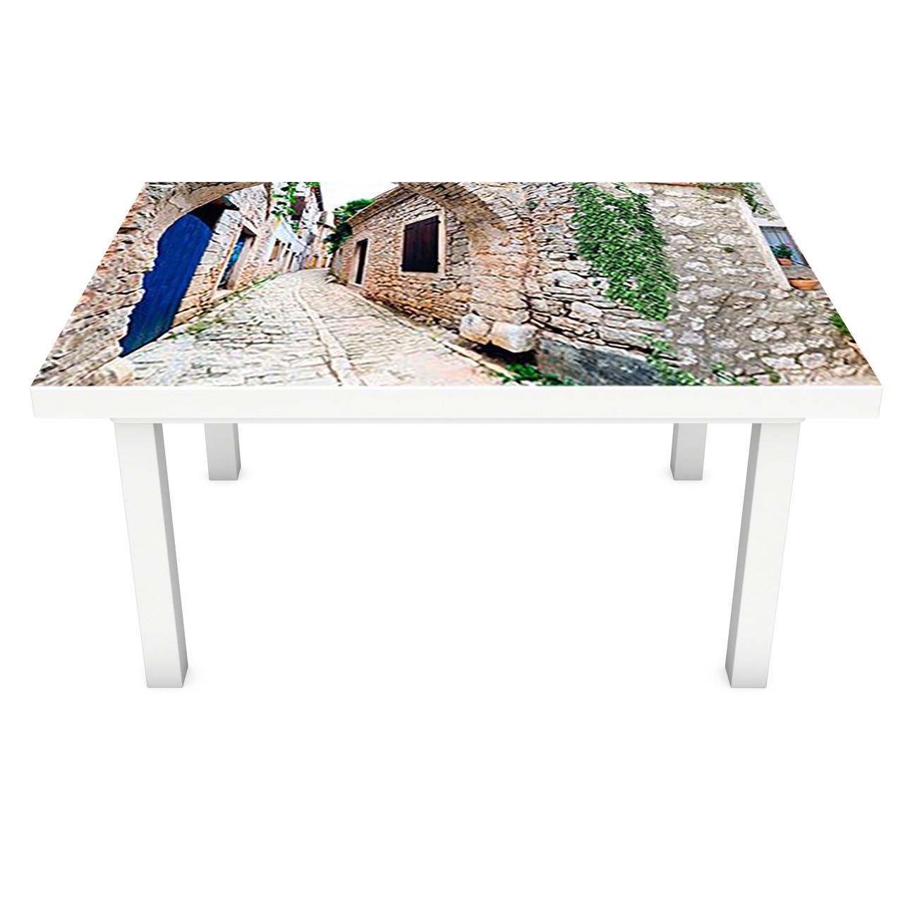 Наклейка на стол Серый Прованс (ПВХ интерьерная пленка для мебели) каменные улицы город 600*1200 мм