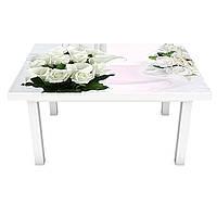 Наклейка на стіл Проліски і Рози ПВХ інтер'єрна плівка для меблів весняні квіти Білий 600*1200 мм