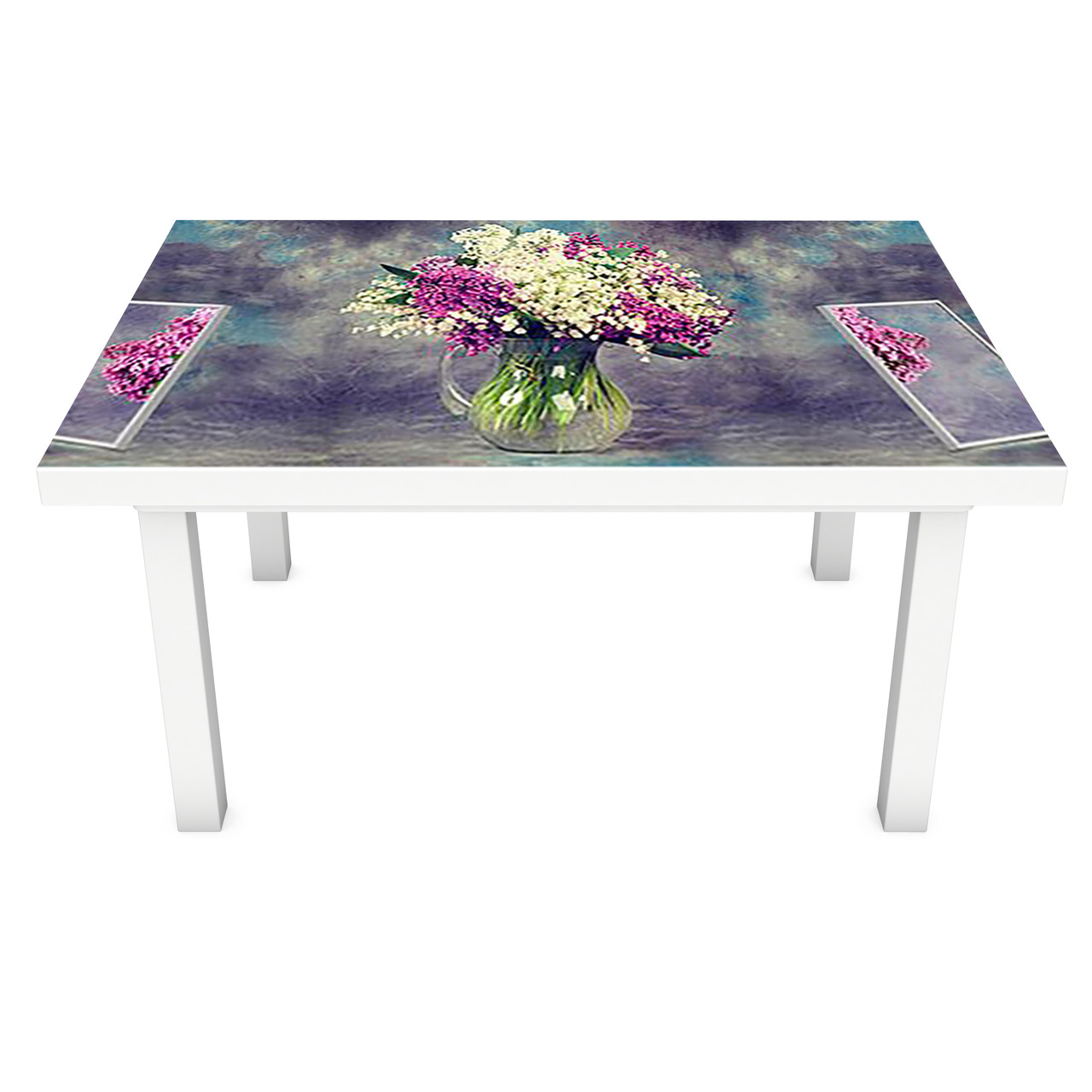Наклейка на стол Пышная Сирень ПВХ интерьерная пленка для мебели акварель цветы Фиолетовый 600*1200 мм