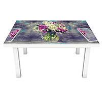 Наклейка на стіл Пишна Бузок ПВХ інтер'єрна плівка для меблів акварель квіти Фіолетовий 600*1200 мм
