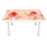 Наклейка на стіл Квіти Лотоса ПВХ інтер'єрна плівка для меблів водяні лілії Бежевий 600*1200 мм, фото 1