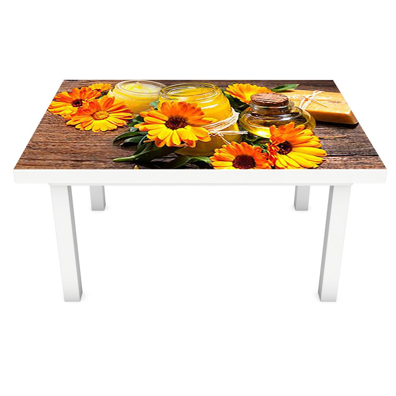Наклейка на стіл Календула ПВХ інтер'єрна плівка для меблів помаранчеві квіти на дерев'яному тлі 600*1200 мм
