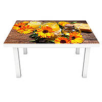 Наклейка на стіл Календула ПВХ інтер'єрна плівка для меблів помаранчеві квіти на дерев'яному тлі 600*1200 мм, фото 1