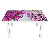 Наклейка на стіл Петунії ПВХ інтер'єрна плівка для меблів фіолетові квіти кучеряве 600*1200 мм