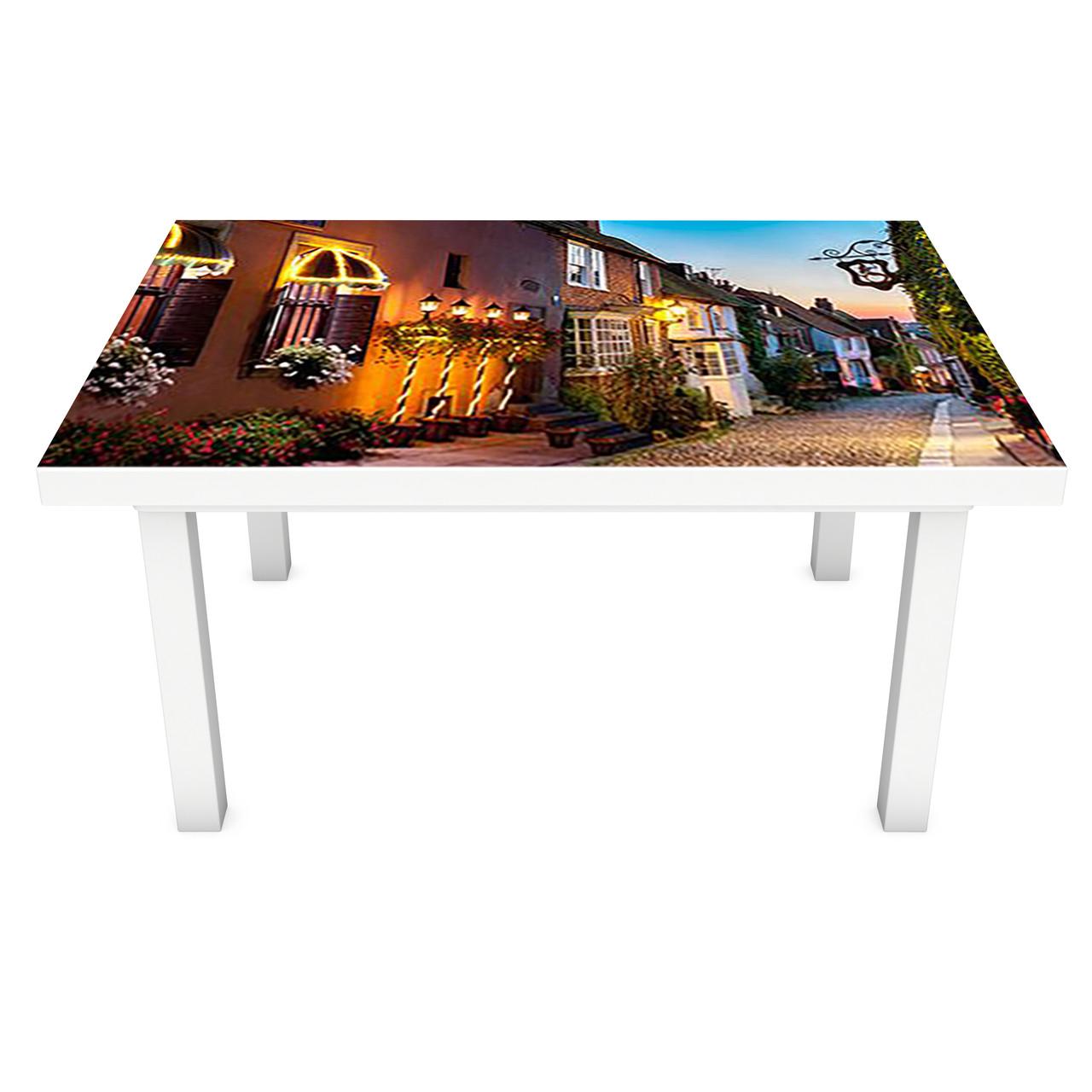 Наклейка на стол Вечер в Провансе ПВХ интерьерная пленка для мебели ночной город Коричневый 600*1200 мм