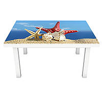 Наклейка на стол Ракушки ПВХ интерьерная пленка для мебели пляж песок море звезда Синий 600*1200 мм, фото 1