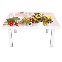 Наклейка на стіл Осінні Ягоди ПВХ інтер'єрна плівка для меблів квіти натюрморт Бежевий 600*1200 мм, фото 1