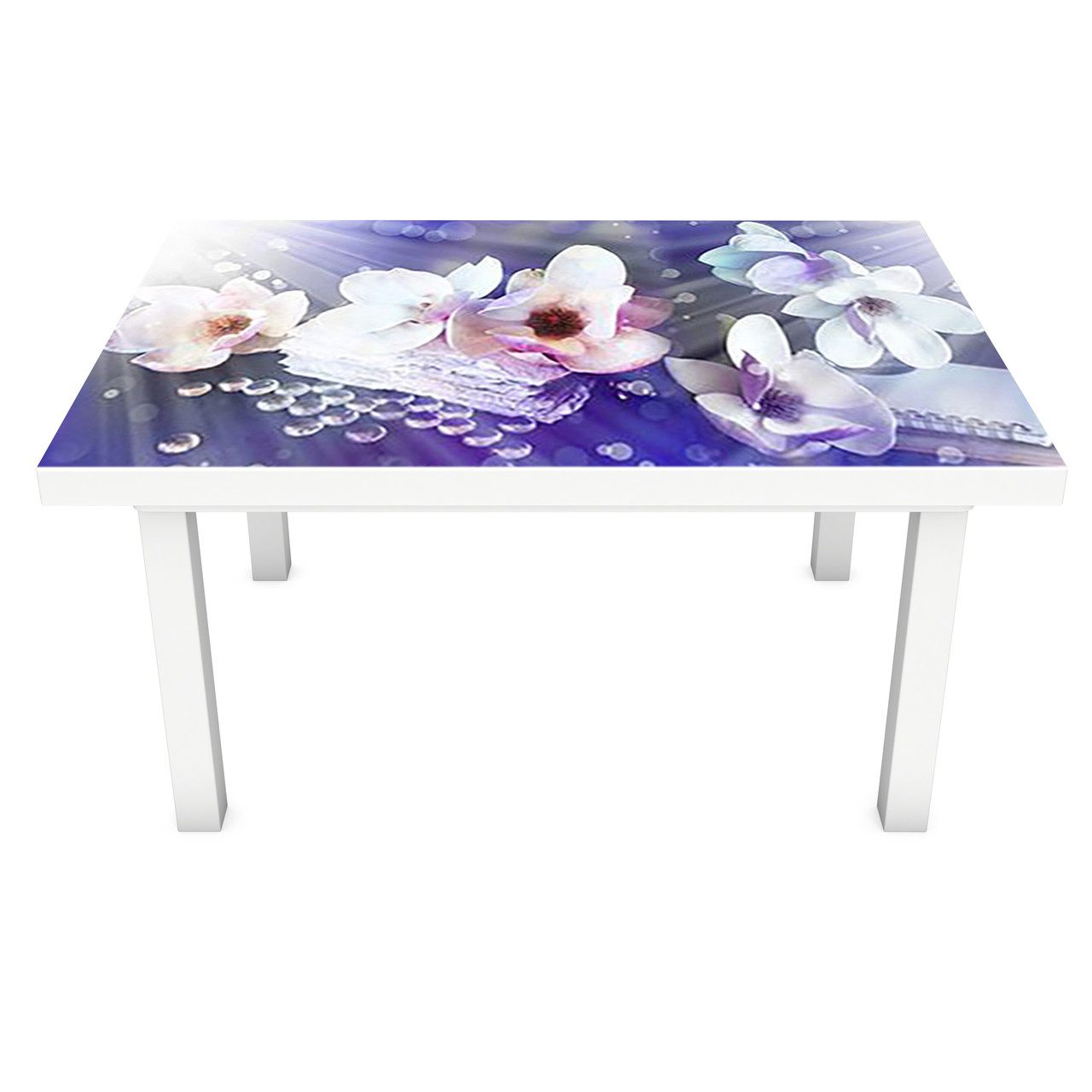 Наклейка на стол Солнечные Магнолии ПВХ интерьерная пленка для мебели цветы свет Синий 600*1200 мм