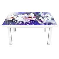 Наклейка на стіл Сонячні Магнолії ПВХ інтер'єрна плівка для меблів квіти світло Синій 600*1200 мм, фото 1