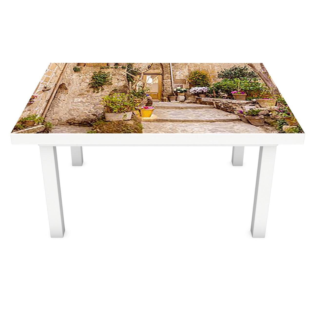 Наклейка на стіл Двері в Прованс ПВХ інтер'єрна плівка для меблів кам'яні вулиці Бежевий 600*1200 мм