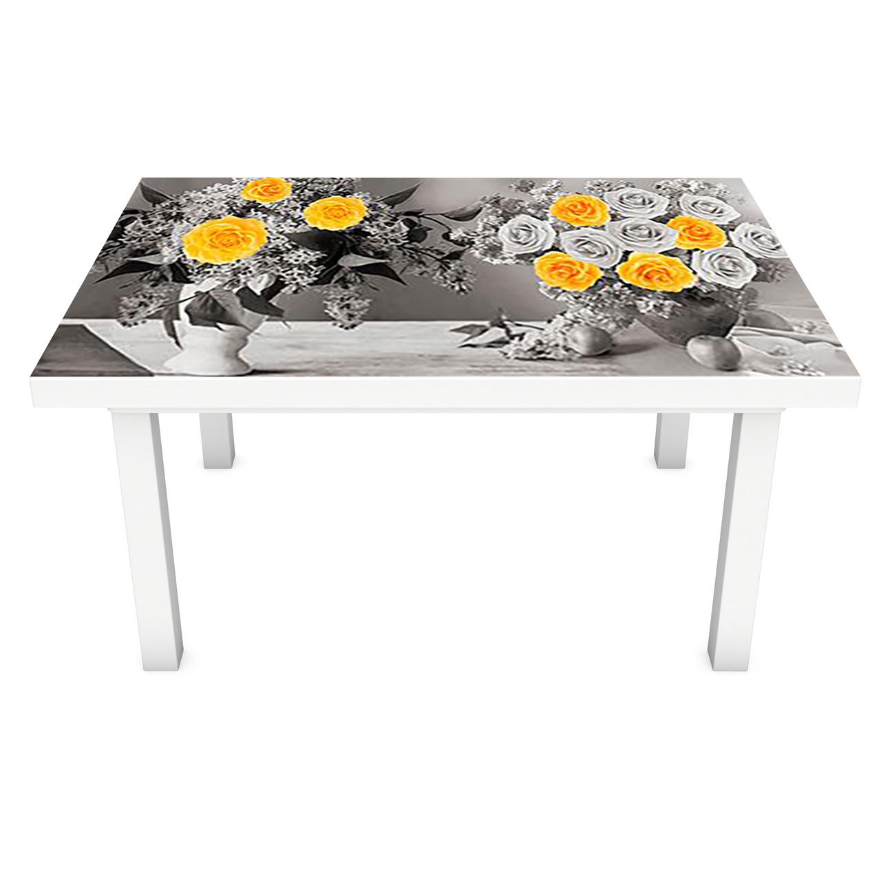 Наклейка на стол Желтый акцент ПВХ интерьерная пленка для мебели розы цветы кувшины Серый 600*1200 мм