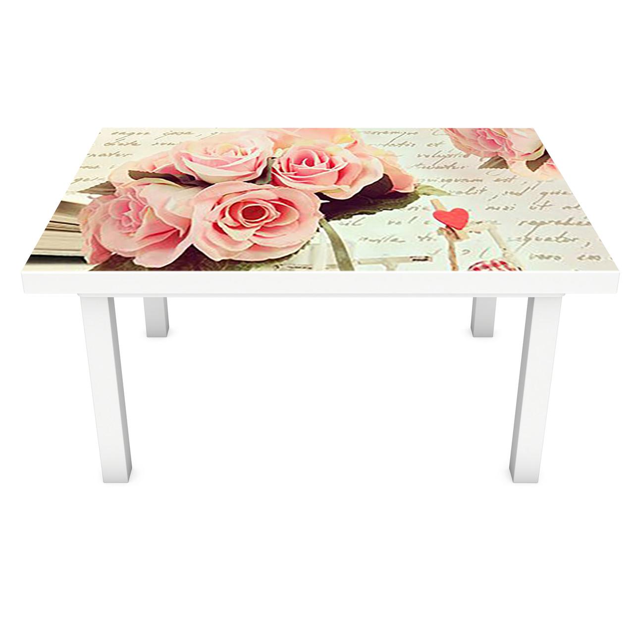 Наклейка на стіл Лист і Рози ПВХ інтер'єрна плівка для меблів квіти написи Рожевий 600*1200 мм