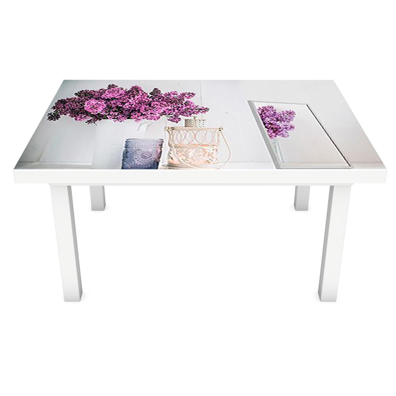 Наклейка на стол Сирень в ведре ПВХ интерьерная пленка для мебели букеты цветы Серый 600*1200 мм