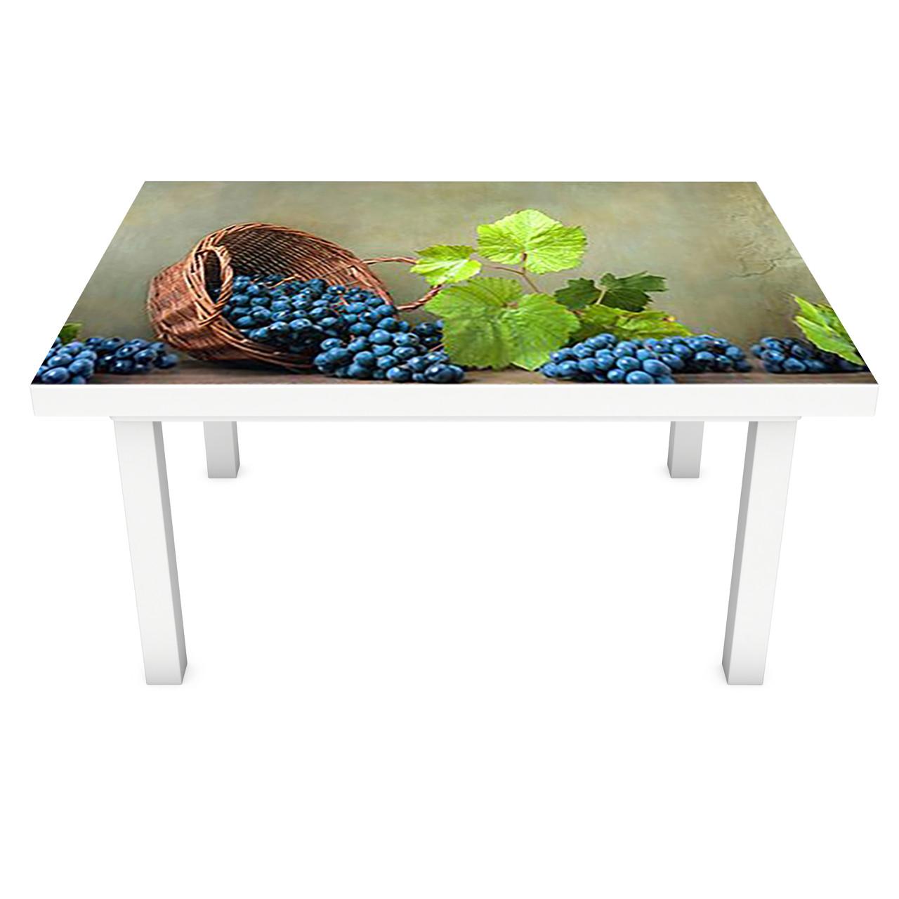 Наклейка на стол Синий Виноград ПВХ интерьерная пленка для мебели лоза ягоды Зеленый 600*1200 мм