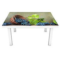 Наклейка на стол Синий Виноград ПВХ интерьерная пленка для мебели лоза ягоды Зеленый 600*1200 мм, фото 1
