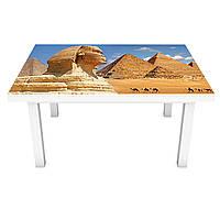 Наклейка на стіл Єгипетські Піраміди ПВХ інтер'єрна плівка для меблів Єгипет Сфінкс Бежевий 600*1200 мм, фото 1