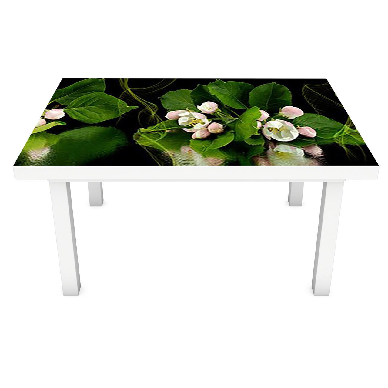 Наклейка на стіл Квіти Яблуні Відображення ПВХ інтер'єрна плівка для меблів на темно тлі Зелений 600*1200 мм