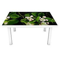 Наклейка на стіл Квіти Яблуні Відображення ПВХ інтер'єрна плівка для меблів на темно тлі Зелений 600*1200 мм, фото 1