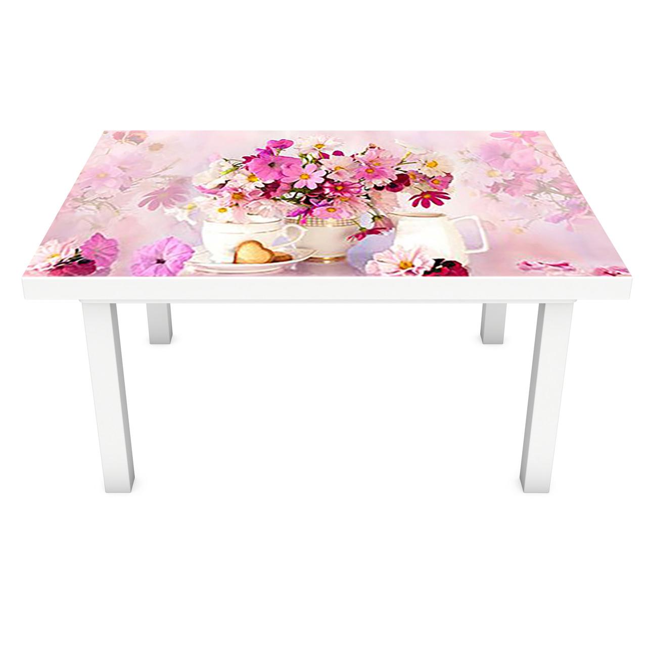 Наклейка на стол Букеты розовых цветов (ПВХ интерьерная пленка для мебели) цветы в вазах 600*1200 мм