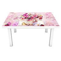 Наклейка на стол Букеты розовых цветов (ПВХ интерьерная пленка для мебели) цветы в вазах 600*1200 мм, фото 1