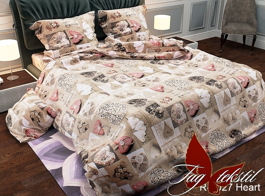 Двуспальный комплект постельного белья - ранфорс R2027 Heart