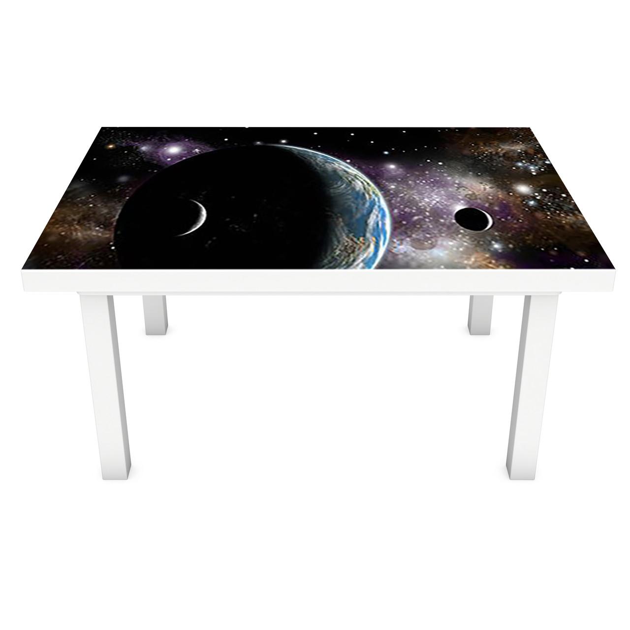 Наклейка на стол Планеты (ПВХ интерьерная пленка для мебели) космос сферы Черный 600*1200 мм