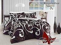 Двуспальный комплект постельного белья - ранфорс с компаньоном Ruya kahve