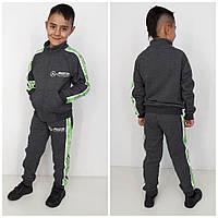 Спортивный костюм трехнить Mercedes серый/зеленый (90%хлопок, 10%эластан)