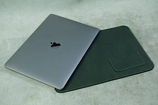 Кожаный чехол для MacBook, модель №28, Винтажная кожа, цвет Зеленый, фото 3