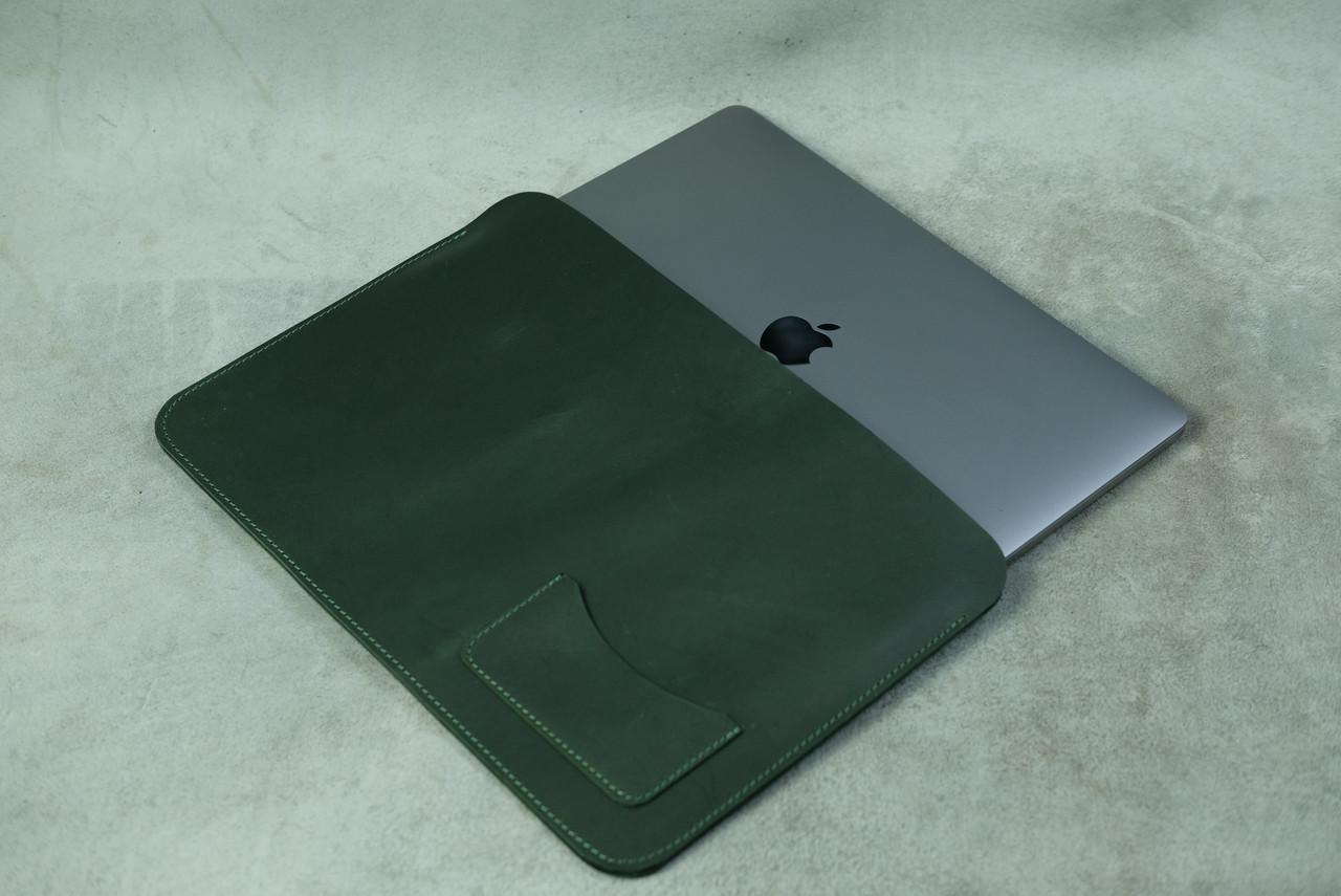 Кожаный чехол для MacBook, модель №28, Винтажная кожа, цвет Зеленый
