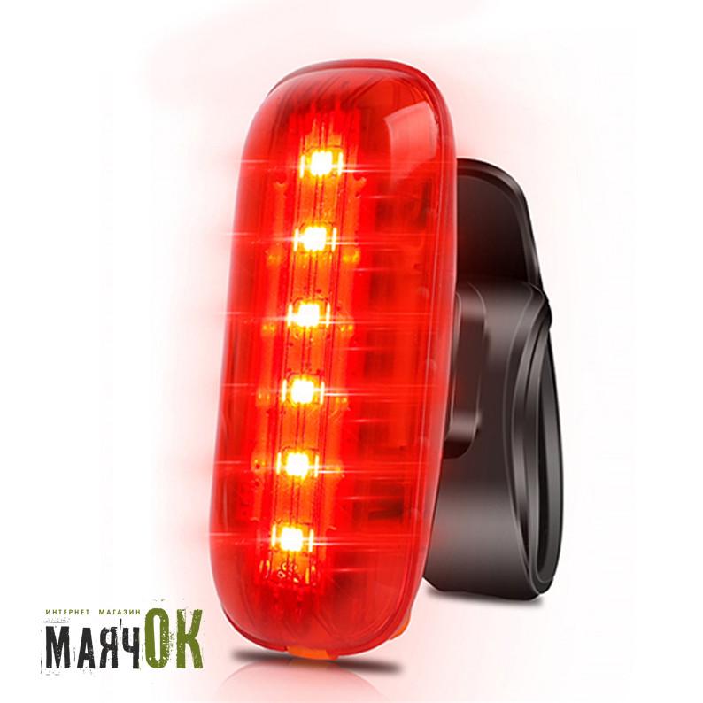 Фонарь велосипедный AQY-0116-6SMD, красный, ЗУ microUSB, встроенный аккумулятор