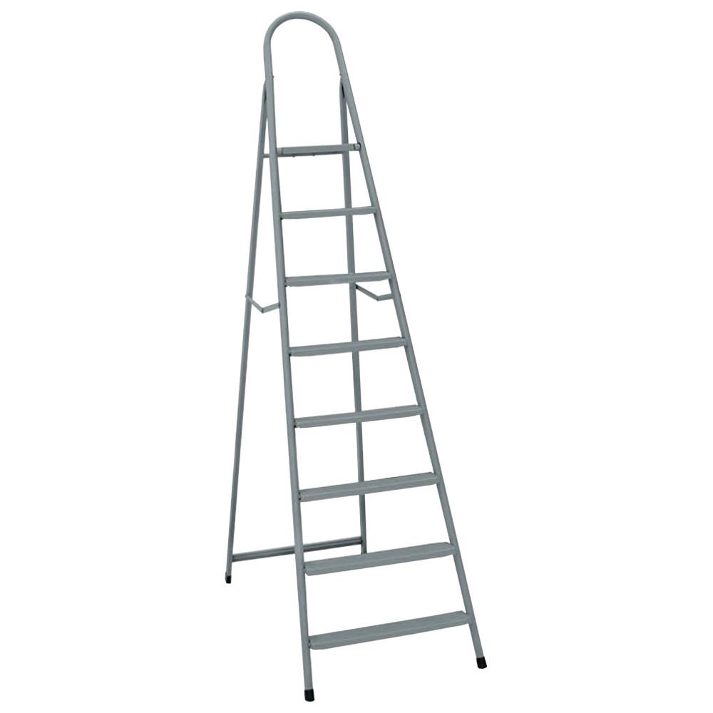 Лестница-стремянка металлическая ИТАЛИЯ 8 ступеней с растяжками h=1760 мм 150 кг ГОСПОДАР 79-1048
