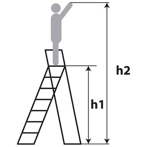 Лестница-стремянка металлическая ИТАЛИЯ 8 ступеней с растяжками h=1760 мм 150 кг ГОСПОДАР 79-1048, фото 2