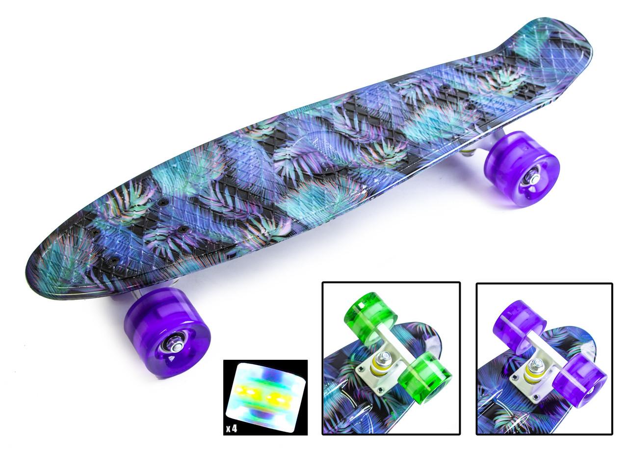 """Penny Board """"Пальма фиолетовая"""" Светящиеся колеса"""