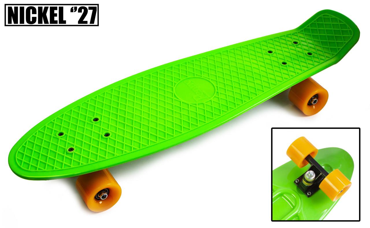 "Penny Board Nickel 27"".Green. Матові колеса"