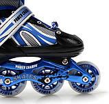 Дитячі ролики розсувні Power Champs. BLACK-BLUE. Розміри 29-33, 34-38, фото 5