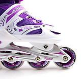 Ролики раздвижные Super Power с PU колесами. Фиолетовые. Размеры 29-33, 34-37, 38-41, фото 3