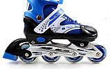 Ролики раздвижные Super Power с PU колесами. Синие. Размеры 29-33, 34-37, 38-41., фото 2