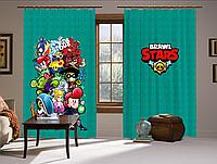 Шторы 3D Бравл старс Арт бирюза, комплект из 2-х штор Brawl Stars