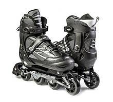 """Ролики с PU колесами раздвижные Scale Sports """"Adult Skates"""". Черные, размер 41-44"""